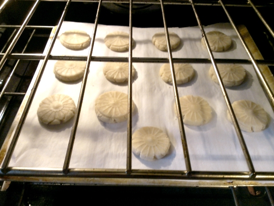 Stamped dough.